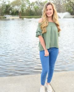 Casual Spring Look: Off the Shoulder Tops and Platform Sneakers