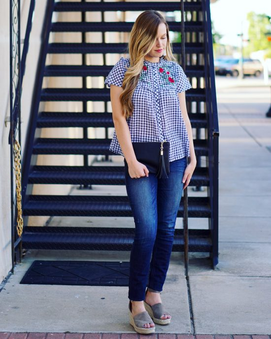 Gingham Print | Ginham Blouse | Summer Trends | Embroidered Top | Style Blogger | Outfit Inspiration | Gingham Outfit | Summer Trends | Hottest Summer Trends | Summer Outfits | Gingham Blouse | Gingham under $50