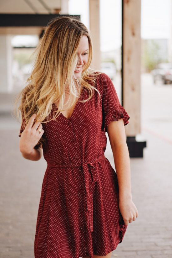 Polka Dot Burgundy Game Day Dress