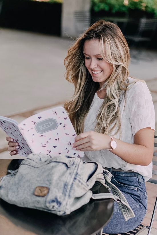 Back to School What's in My Back Pack, the perfect planner from May Designs, customizable for meal planning, budget planning, or acdemic calendar. Back to school outfits white blouse and flare jeans. Lifestyle college blog post featuring denim backpacking.